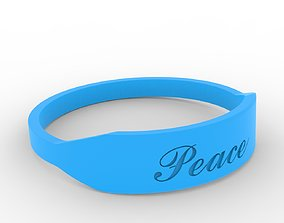 Peace Female Ring with Hard Rough 3D printable model 3