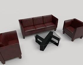 3D asset Leather Sofa Set
