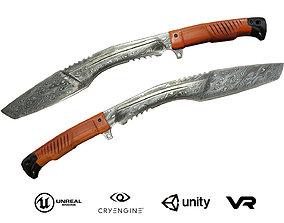 Knife Kukri - Damascus steel 3D asset