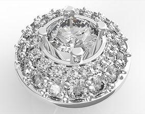 Rollover Halo Diamond Earrings 3D print model