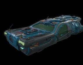 3D model Low poly cyberpunk flying car with interior