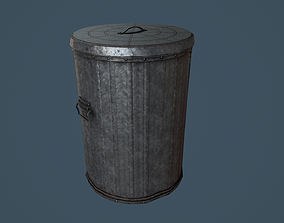 Trash Can PBR Game Ready 3D model low-poly