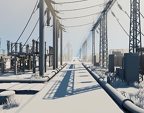 Electrical Substation Low-poly 3D asset