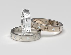 3D print model Set of B-V-L-G-A-R-I wedding bands sized 3