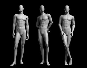 3D asset realtime Animated Male Base Mesh v3 - 3 poses