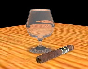 wineglass and cigar 3D model