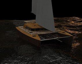 yacht Catamaran 3D model