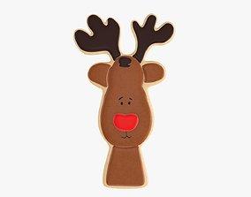 Deer Christmas cookie 3D