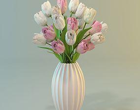 Tulips in a vase 3D model