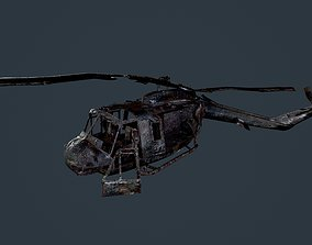 3D asset Wrecked Damaged UH1H Military Helicopter Game 1