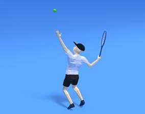 Low Poly Kid Playing Tennis 3D asset
