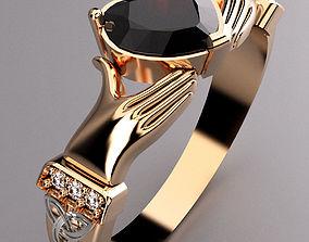 platinum 3D print model Claddagh Ring