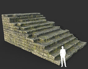3D asset Low poly Mossy Ruin Medieval Construction 12