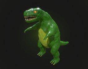 Low poly stylized fantasy dinosaur model game-ready