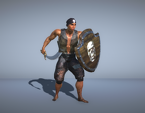 Pirate with a sword and shield 3D