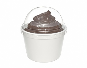 Ice cream in white plastic cup for mockup 3D model
