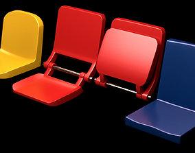 Set of tribune bleachers stadium seats 3d model realtime
