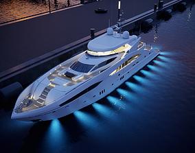 Sunseeker Predator 130 superyacht 3D model