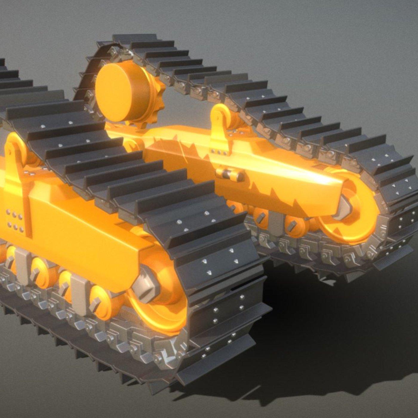 Bulldozer Undercarriage - High-Poly Version