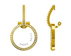 Diamond earrings hoop earrings 3D printable model 4