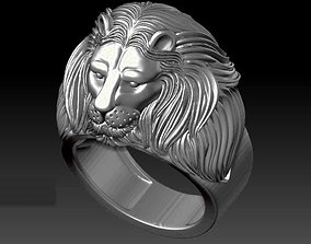 lion ring 3D printable model calm
