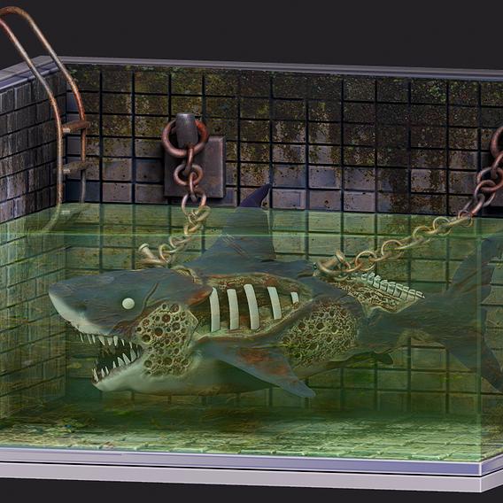Zombie Shark Diorama