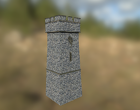 3D model low-poly Medieval Castle Tower