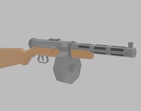 3D asset Low Poly submachinegun PDD-40
