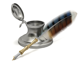 Quill Pen with Inkwell 3D