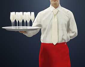 3D model Radim A Waiter Holding A Tray Of Champagne 1