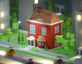 Cute Red House 3D model low-poly