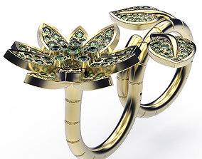wedding 3D print model Ring Lotus