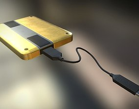3D model External HDD With USB Cable Rigged Gold