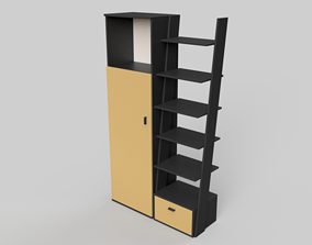 Cabinet and shelf in 2 colors 3D model