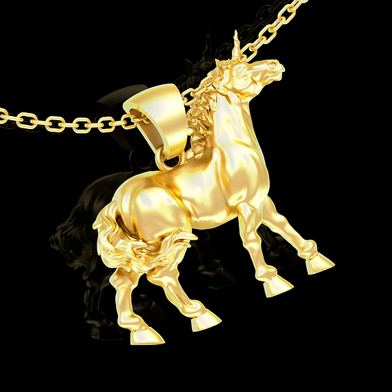 Unicorn unwinged Sculpture pendant jewelry gold necklace 3D print model