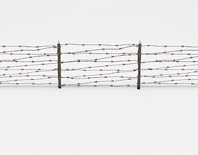 3D model game-ready Lowpoly Barb Wire Obstacle