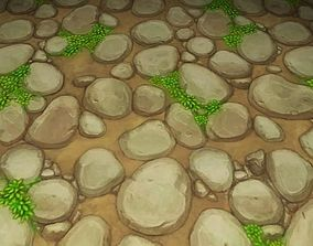 ground stone grass tile 12 3D