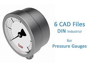 3D model Pressure Gauges - Bar - 3 Diameters -