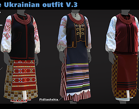 Female Ukrainian outfit V3 3 different outfits 3D