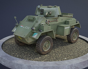 Humber Armoured Car game-ready model 3D asset rigged