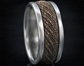 Wedding rings in the style of old wood 3D printable model