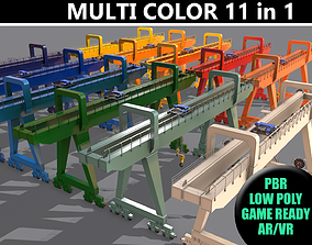 3D model PBR Double Girder Gantry Crane V2 - Multi color