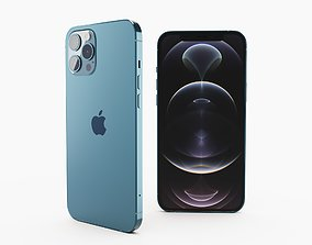 3D model iPhone 12 pro max pacific blue