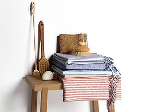 Stack of Towels with Brushes 3D