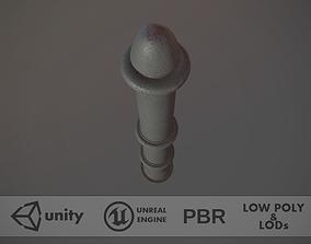 Barrier Bollard pack 5 Gray v3 3D model