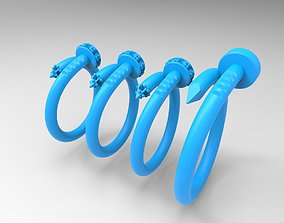 classic Nail shaped rings 3D printable model