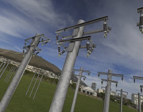 Steel power pole without ladder - Objekt 065 3D asset