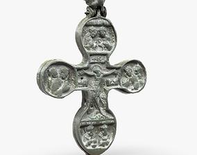 realtime 3d Model Engolpion - Old Brass Cross