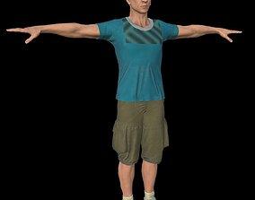 NPC man in cargo shorts 3D asset