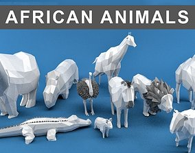 3D asset Low Poly Animals Africa Edition